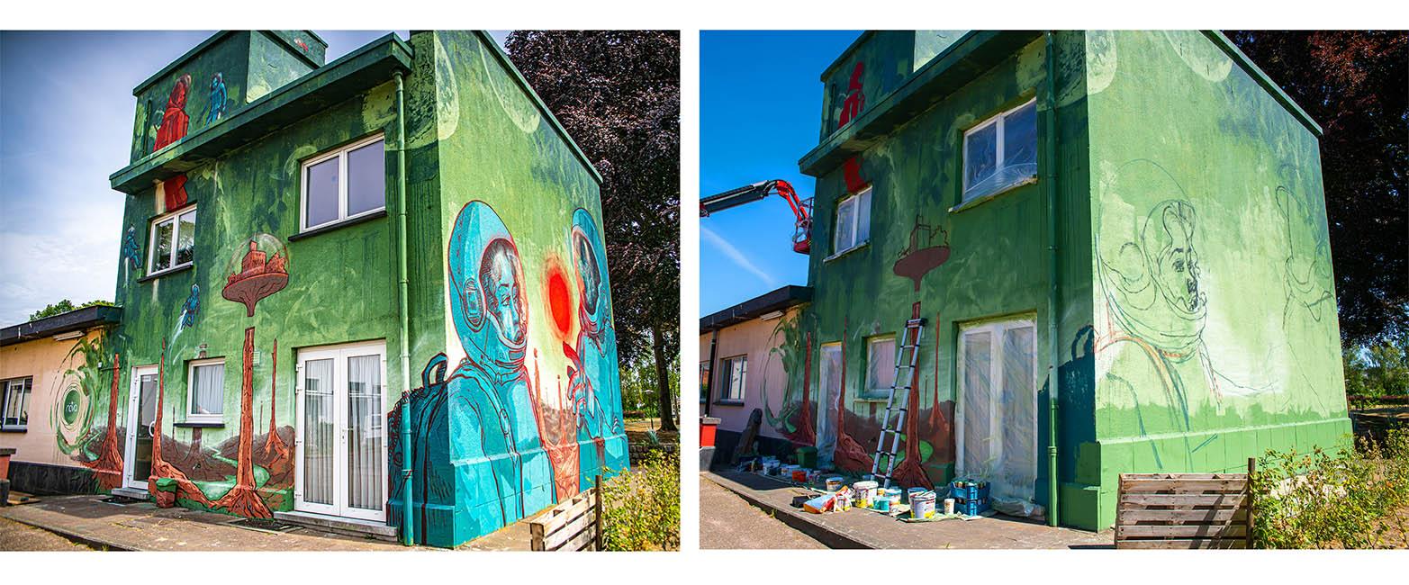 Before and after van een mural kunstwerk gemaakt door het team van Treepack.